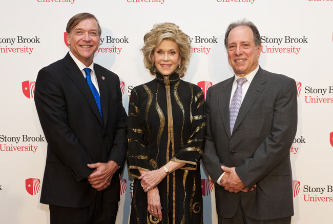 Stony Brook University President Samuel L. Stanley Jr., left, with honoree Jane Fonda and Michael Kimmel, Director of Stony Brook's Center for the Study of Men and Masculinities.