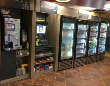 Visit the all new Avenue C self-checkout micro-market offering hundreds of fresh products at Tabler Quad.