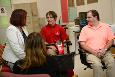 Eric with his friends at Disability Support Services (Photo: Sam Levitan)