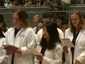 The incoming students recited the Hippocratic Oath for the first time at the 2018 White Coat Ceremony.