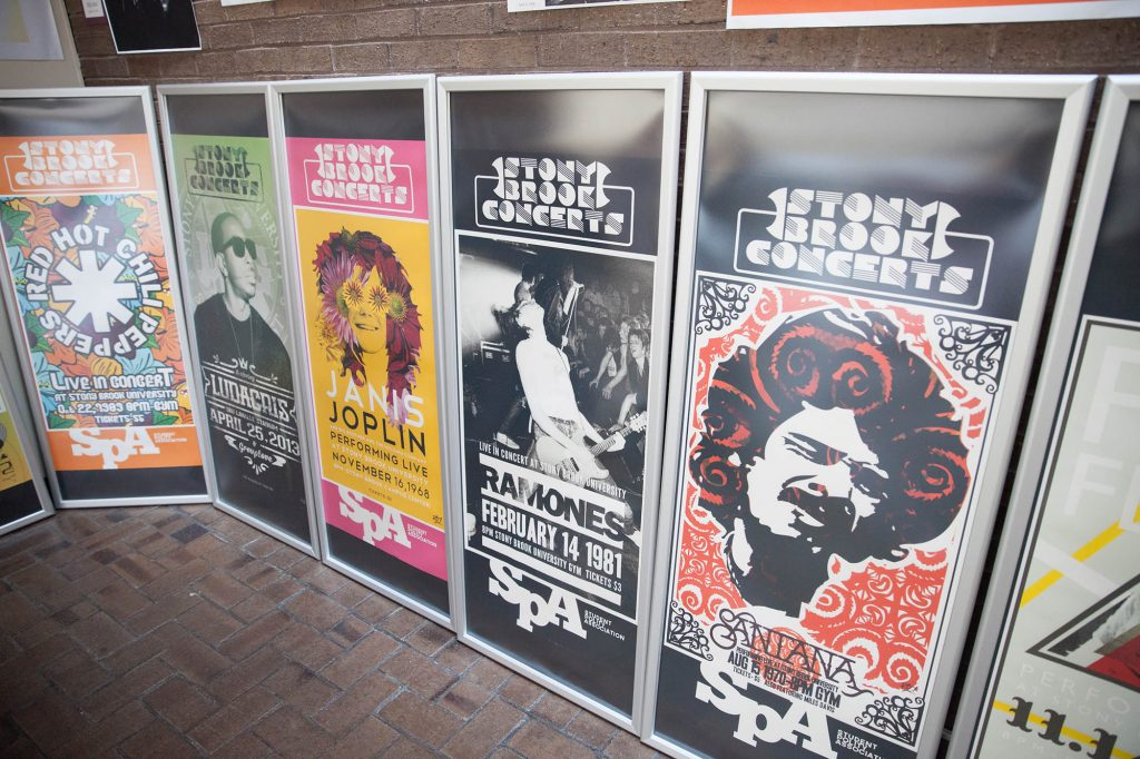 Check out the display of rock concert posters