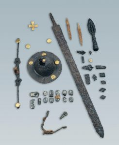 Male grave goods from the archeological site in Italy