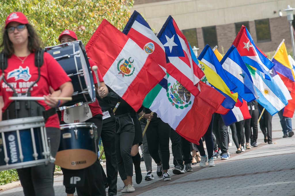 Annual flag procession of Latin American countries on the Academic Mall