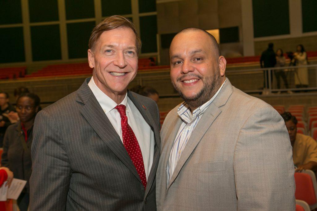 President Stanley and keynote speaker Sergio Argueta