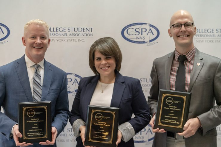 Left to right: Dr. Richard Gatteau, Interim Vice President for Student Affairs and Dean of Students; Emily Snyder, Associate Director for Commuter Student Services and Off-Campus Living; Michael Boerner, Risk Management Coordinator, SAC Reservations