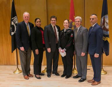 Left to right: New York State Assemblyman Steve Englebright, Councilwoman Valerie Cartwright, Keynote Speaker and U.S. Marine Corps Veteran Joseph Campolo '94, Student Speaker Jane York '19, County Executive Steve Bellone and VP of Veteran Students Organization and U.S. Army Veteran Alex Safran '18.