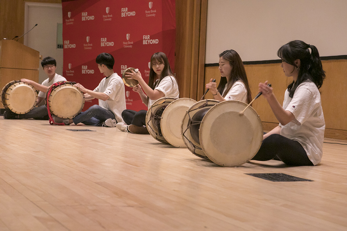 Members of the DDKY Korean Drum Group took to the stage for a rhythmic performance.