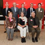 President Stanley (back row, center) with some of this year's Distinguished Professors. Bottom row (from left to right): Kathlyn Parker, Lina Obeid and Ira Cohen; top row: Frederick Grine, Mikhail Lyubich, President Stanley, Peter Djuric, Arthur Samuel (not pictured: Fotis Sotiropoulos, Scott McLennan and J. Peter Gergen)