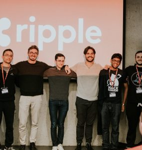 The HackHarvard team; Michael Rizoo is second from right. Photo credit: HackHarvard, Facebook