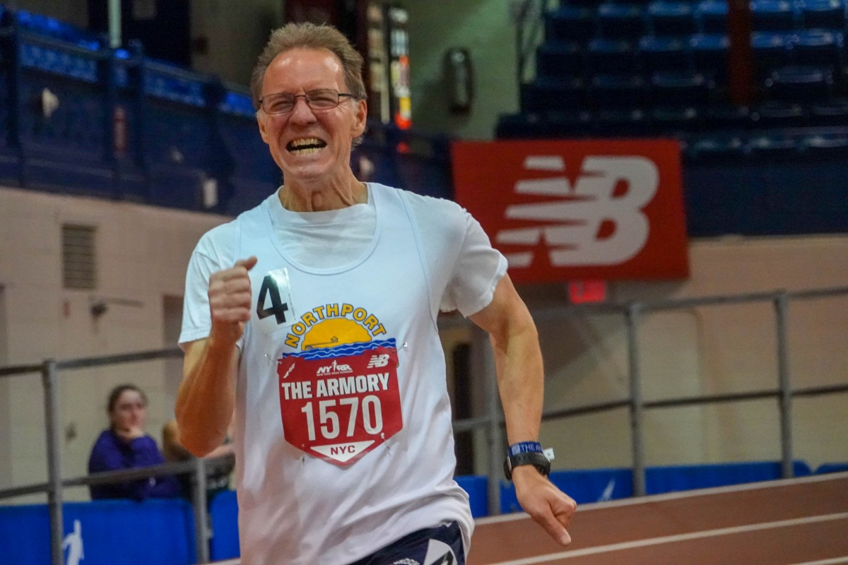 Dale Drueckhammer set a new Long Island record in the 600 and 1000 meters at the Armory Track in NYC.