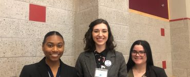 These three students from University of New Haven are the only women in their chemistry class.