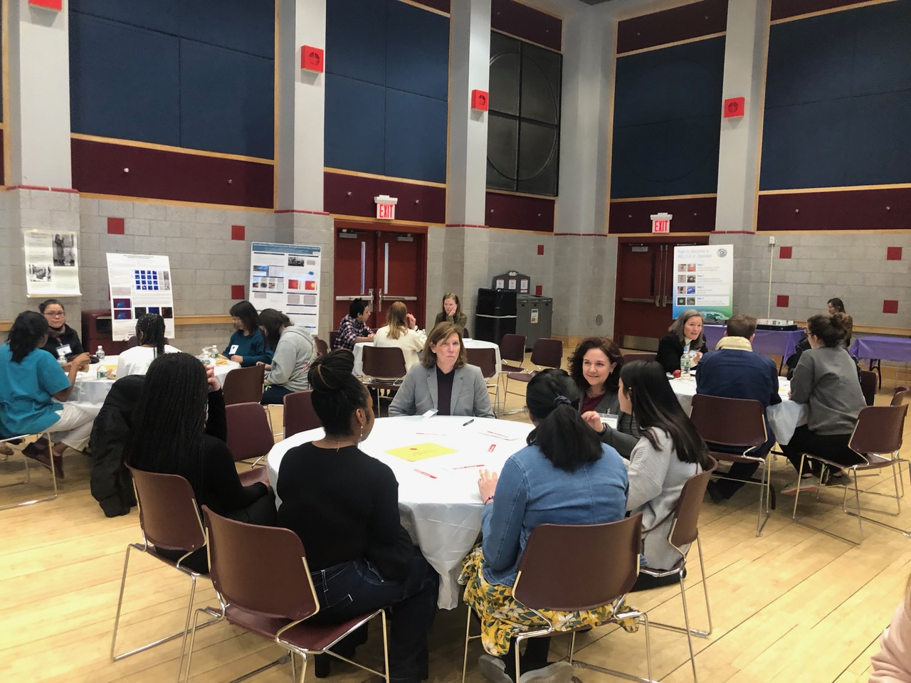 Attendees were divided into topic tables, with each table focusing on a topic concerning women in STEM.