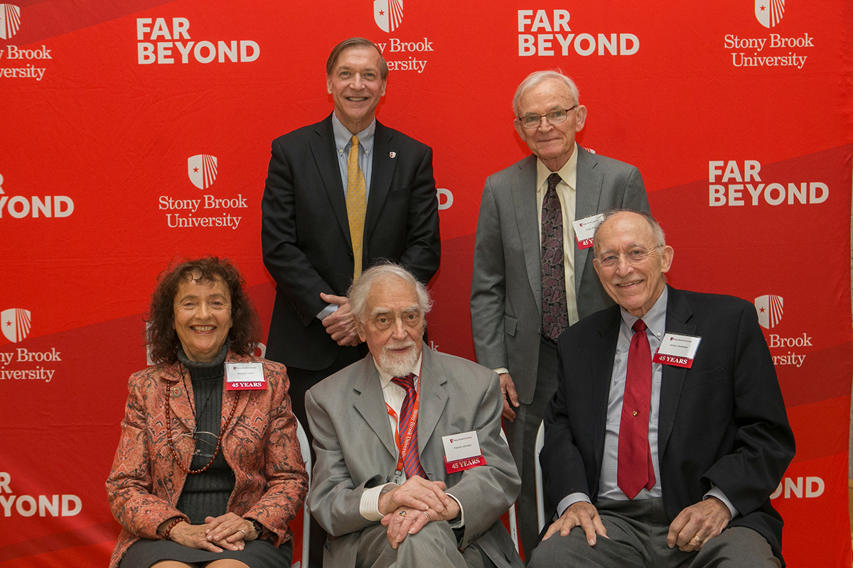 Five of this year's 45-year honorees with President Stanley. Back row: President Stanley, Clyde Lee Miller. Bottom Row: Dorothy Lane, Francis Johnson and Arthur Grollman.