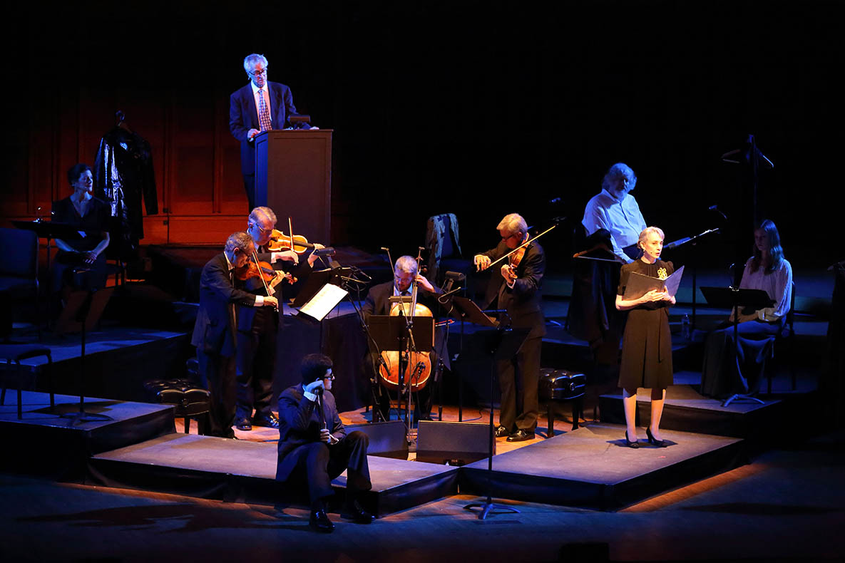 """The Black Monk"" features the Emerson String Quartet, Richard Thomas and Jeffrey DeMunn (photo by Hilary Scott)."