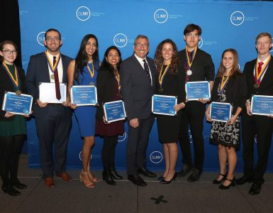 Eight of Stony Brook's 14 Chancellor's Award winners with Charles Robbins, Vice Provost for Undergraduate Education and Dean of the Undergraduate Colleges