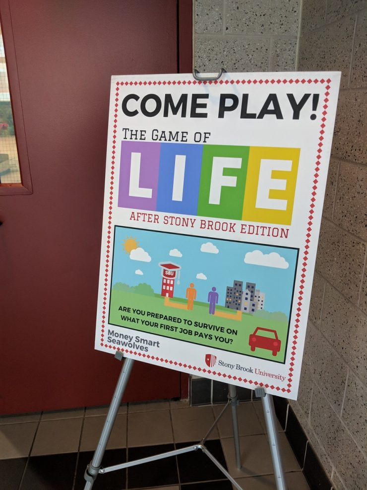 Students played the Game of Life Stony Brook edition