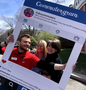 Left to right: Sophomore Joseph Archipolo; Samantha Thompson Assistant Director, Fraternity and Sorority Life; Emily Snyder, Associate Director of Commuter Student Services and Off-Campus Living