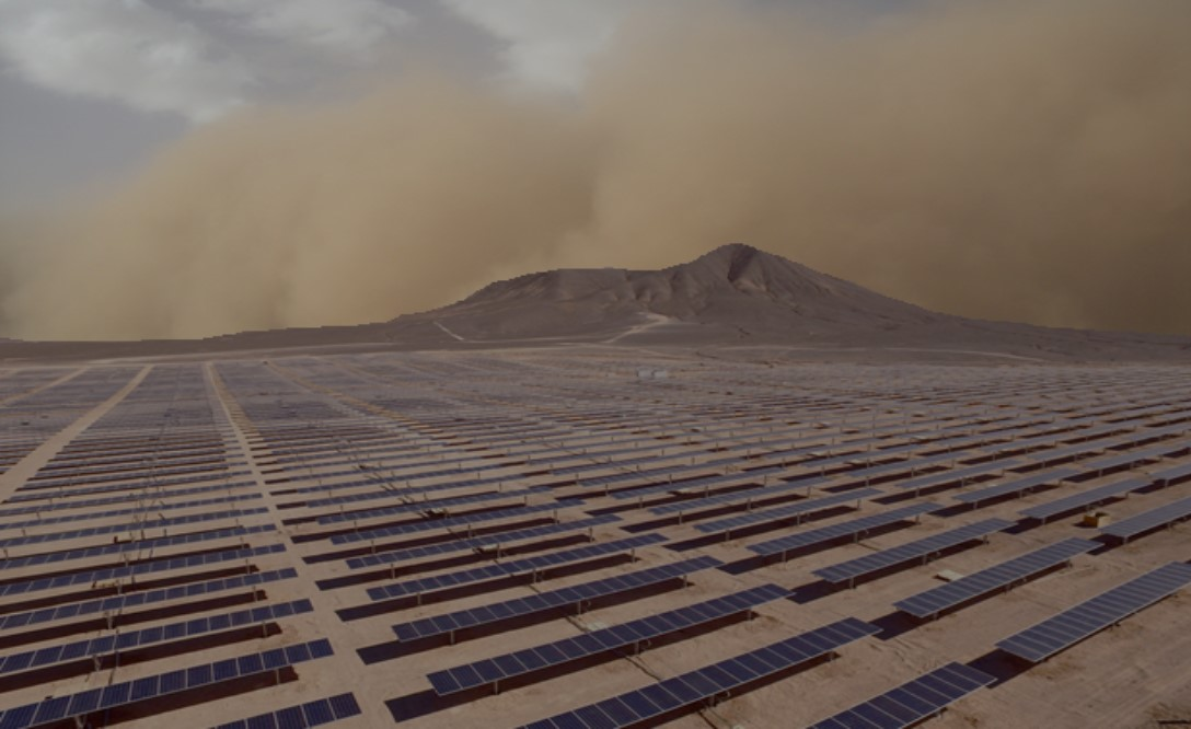 Solar panels in dry or desert regions quickly become contaminated in a dust storm.