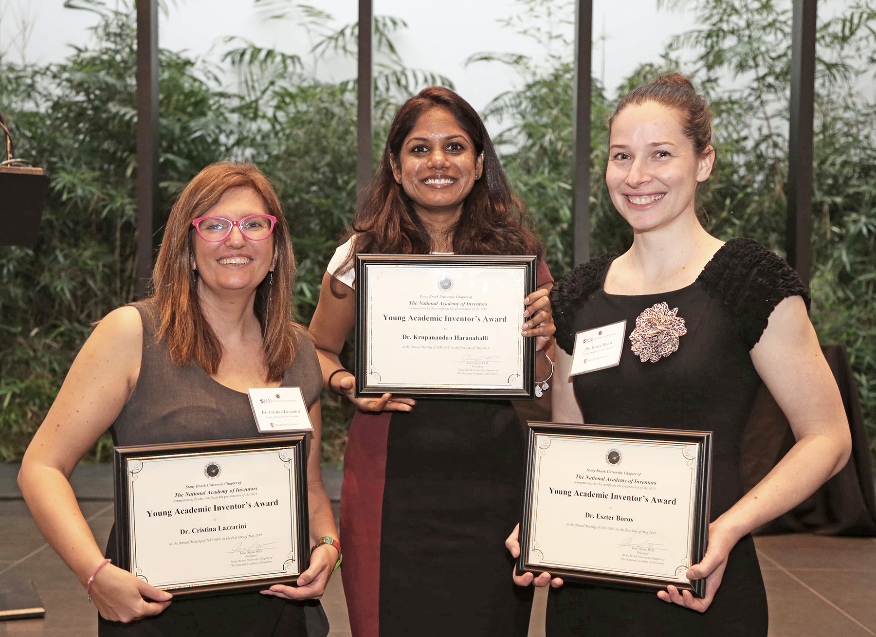 Left to right: Young Academic Award winners Drs. Cristina Lazzarini, Krupanandan Haranahalli and Eszter Boros