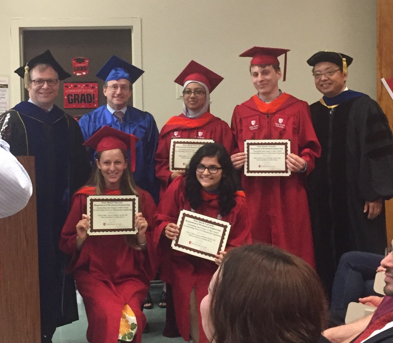 Acacia Leakey (front left) received her BE and MS degrees in mechanical engineering from Stony Brook.