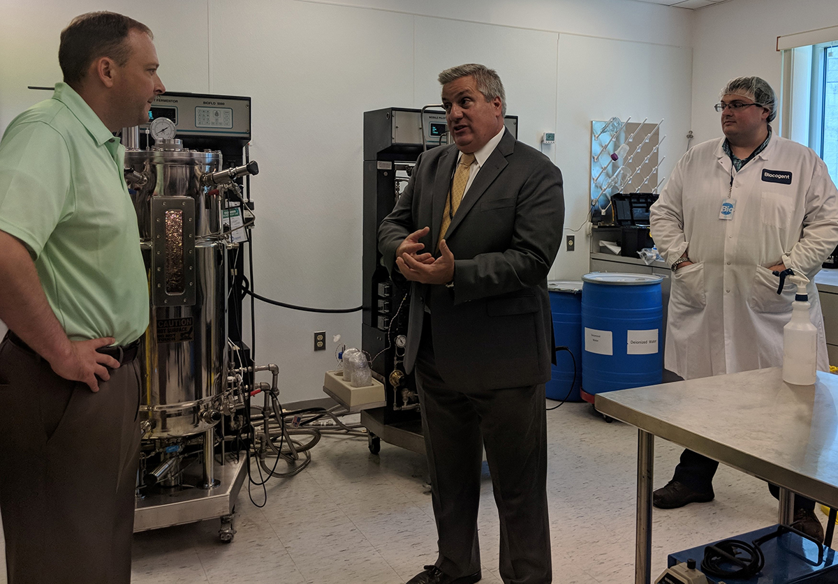 Biocogent President and CEO Joseph Ceccoli explains Biocogent's production operation to Rep. Lee Zeldin.