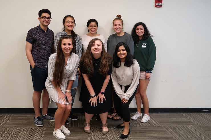 Stony Brook's Millennium Fellows: Back row (left to right) Husbaan Sheikh, Kelly Wang, Nayarit Tineo, Erin Byers and Isabella Bouklas; Front row (left to right) Alexandra Eck, Allison Strauss and Lakshta Kunda