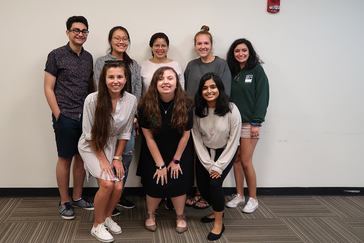 Stony Brook's Millennium Fellows — Back row (left to right): Husbaan Sheikh, Kelly Wang, Nayarit Tineo, Erin Byers and Isabella Bouklas; Front row (left to right): Alexandra Eck, Allison Strauss and Lakshta Kunda (not pictured: Myra Arshad, Sabrina Duquesnay, Anne Green and Agam Singh)