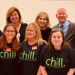 (left to right, Kerri Mahoney, Alcohol and Other Drug Outreach Specialist, Officer Bica, Kathleen Valerio, Program Coordinator, Catherine Marrone, Senior Lecturer, Department of Sociology, Dr. Richard Gatteau, Dean of Students, Vice President of Student Affairs, Officer Jared King, Officer Pete Thomson, Front row left to right: SBU Chill Educators Chynna Rios, Allison Van Cott-McEntee, Kathleen DiMartino)