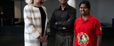 CAS Dean Nicole Sampson with Bala and Prabha Swaminathan