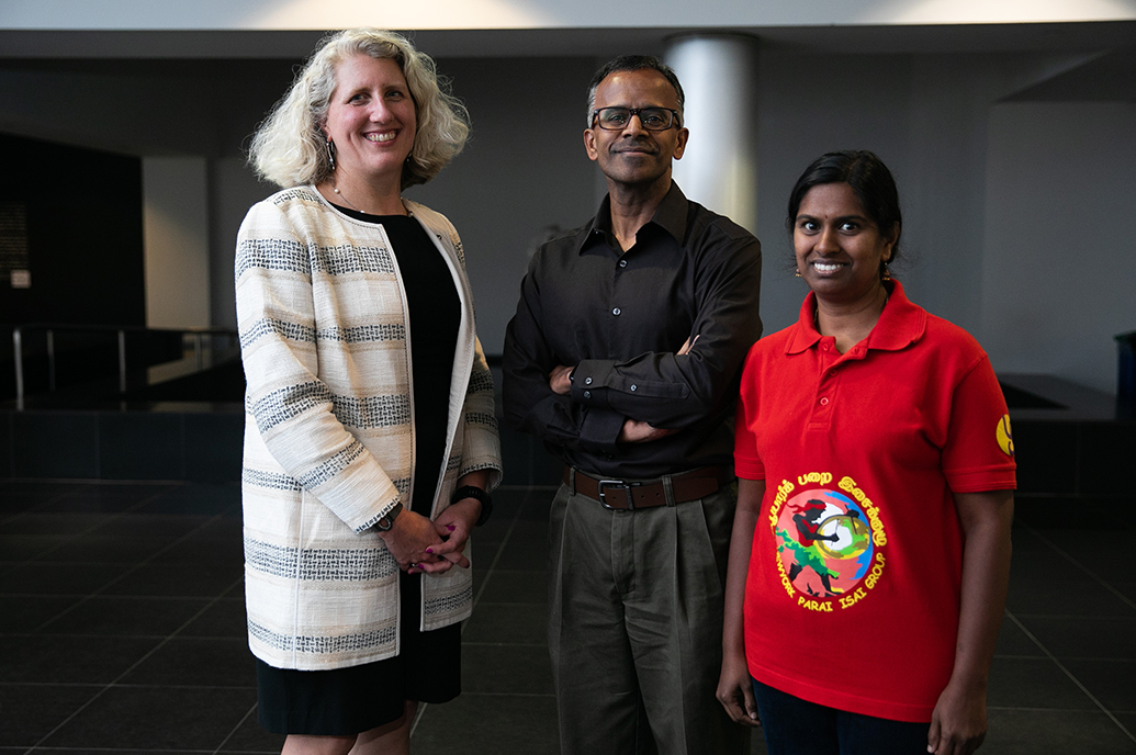 CAS Dean Nicole Sampson with Bala and Prabha Swaminathan