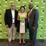 Receiving prestigious NACAS Edwin R. Golden Award for Inclusive Excellence. From left to right: Van Sullivan, Executive Director at Faculty Student Association; Angella Agnello, Director of Marketing at Faculty Student Association; Dr. Jarvis Watson, Interim Chief Diversity Officer.