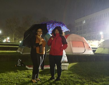Students camped overnight at the third annual Tent City to raise awareness about the harsh conditions faced by homeless veterans.