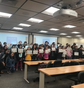 Students received certificates for their participation in the Hour of Code program.