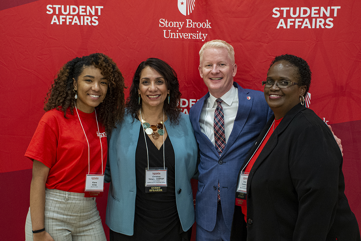 Left to right: Kiara Arias, USG Director of Diversity Affairs; Keynote Speaker Christina Vargas; Dr. Rick Gatteau, VP for Student Affairs and Dean of Students; and Cheryl Chambers, Associate Dean for Multicultural Affairs