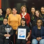 Coordinator on West campus for LiveOnNy, Kathleen Valerio, LiveONNY scholarship awardee, Maryam Hassanein, students from Chill Program and representatives from the Division of Student Health, Wellness and Prevention Services accept trophy for SBU.