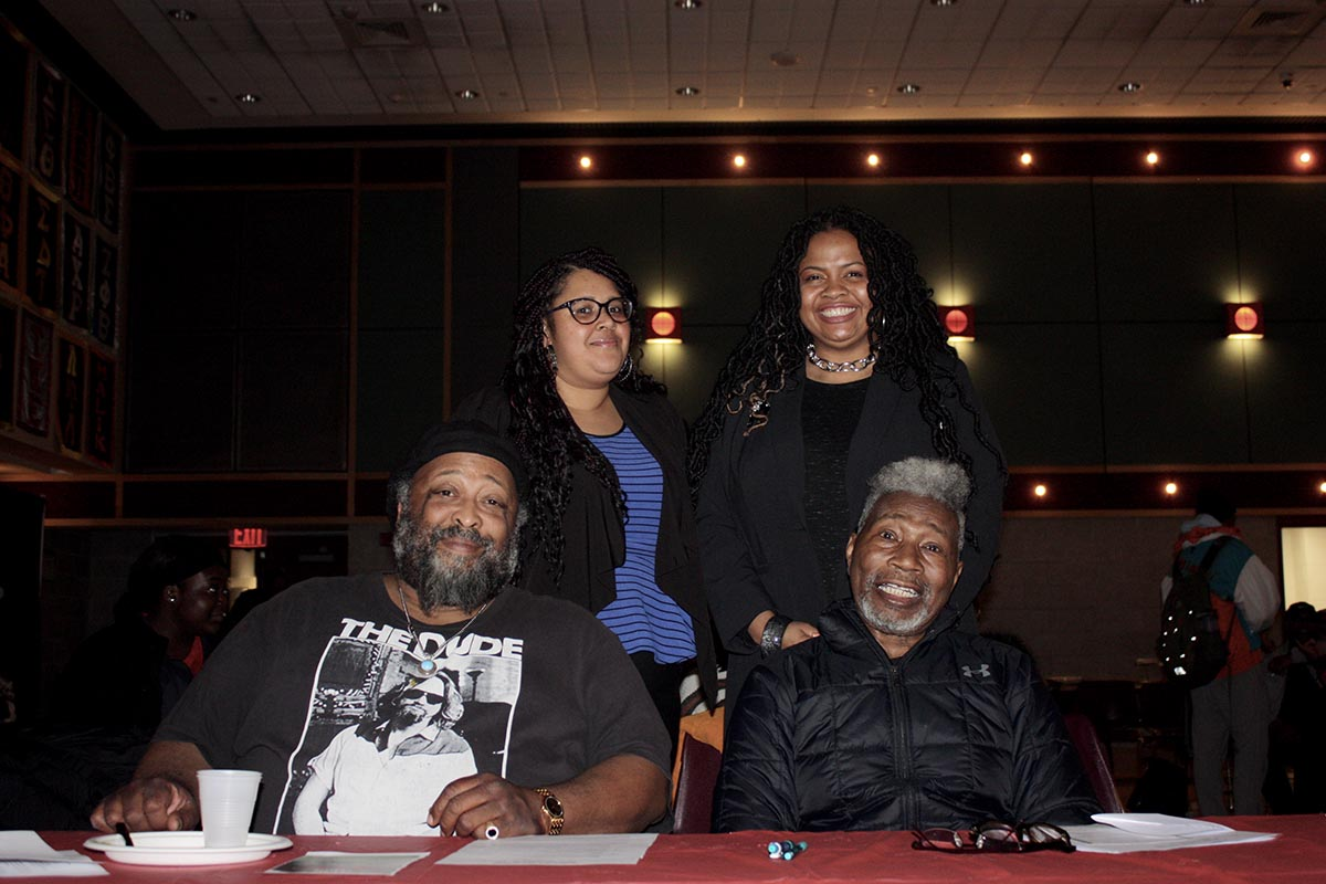 The event's jury (left to right):  Ahmed Ali, host of WUSB's Cafe Ali show; Donna-Lee Mahabeer, Campus Residences; Unity Watts, Campus Residences; Dr. Gerald Shephard