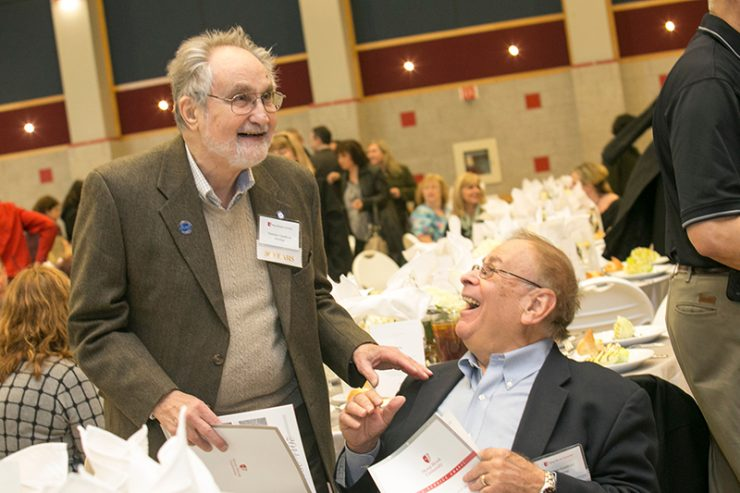 55-year honorees Norm Goodman and Marv Goldfried at the 2015 Service Awards.