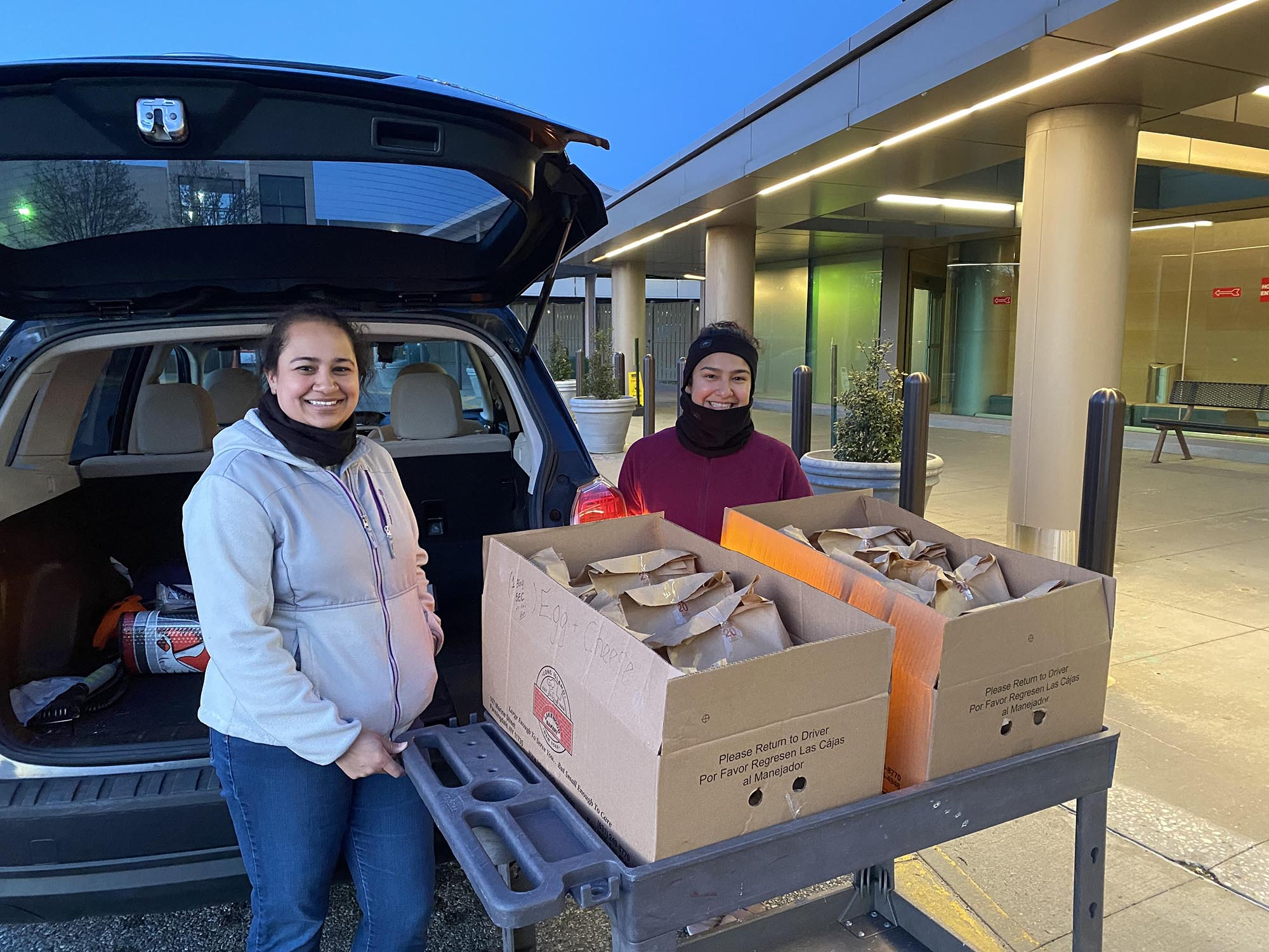 Dina Patel and her daughter brought breakfast to custodial staff bright and early to show their appreciation.