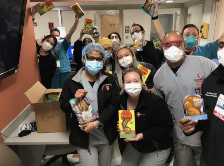 Medical staff at Stony Brook University Hospital with their treats from the Easter Bunny. Various local companies donated the goodies and University volunteers helped distribute them to SBUH staff on Friday, April 10, giving a much needed lift to those on the front line fighting the coronavirus.