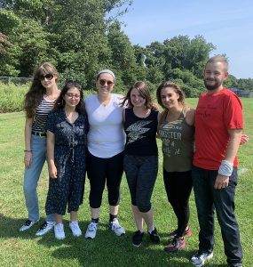 Undergraduate Student of the Year, Emma Morse (third from left) with members of the Student Accessibility Support Center (SASC), from left to right: Alisa Fomina, Evelin Coronel, Emma Morse, Abbigail Maher, SASC Director Wendi Mathews and SASC Coordinator, Thaddeus Nelson.