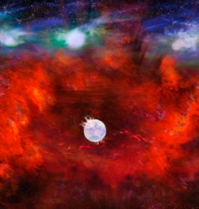 Artist's illustration of SN1987A (Credit: NRAO/AUI/NSF, B. Saxton)