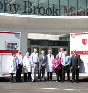 Left to right: Kimberly Noel, MD, Director, Telehealth, Stony Brook Medicine; Stephen Slovensky, Emergency Medical Services Director, Stony Brook Medicine; Michael Guido III, MD, Neurologist, Director, Stony Brook Neurology Stroke Program; Trevor Marshall, MD, Medical Director, Emergency Medical Services; David Fiorella, MD, PhD, Neurointerventionalist, Director, Stony Brook Cerebrovascular Center; Ken Kaushansky, MD, Dean, Renaissance School of Medicine at Stony Brook University; Eileen Conlon, RN Coordinator, Stony Brook Medicine; Eric Niegelberg, Associate Director, Operations, Emergency Services and Internal Medicine; Tony Indelicato, Radiology Operations Manager, Stony Brook Medicine; John Hennessey, Stony Brook Medicine