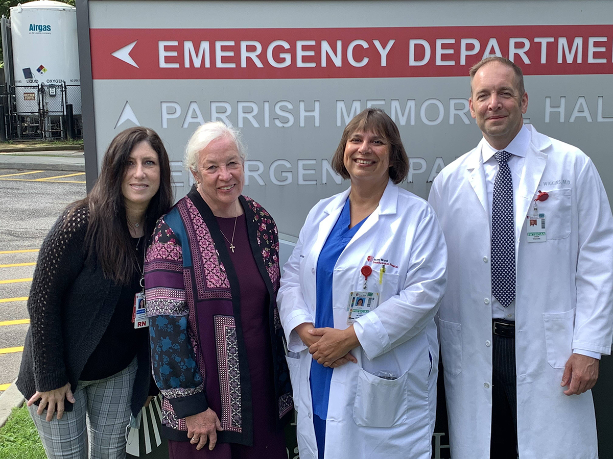 From left: Catherine Baccelliere, RN; Janet Woo, Clinical Coordinator; Olga McAbee, MD, Neurology;  and Darin Wiggins, MD, FAAEM, Emergency Department