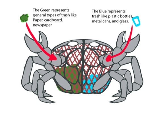 """A diagram of art student """"Michael Manning's """"Shellfish Recycling Bin"""", which will be placed in Rocketship Park"""