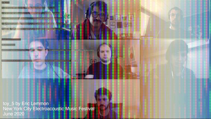 Ensemble Decipher rehearsing member Eric Lemmon's toy_5 for the New York City Electroacoustic Music Festival, June 2020.