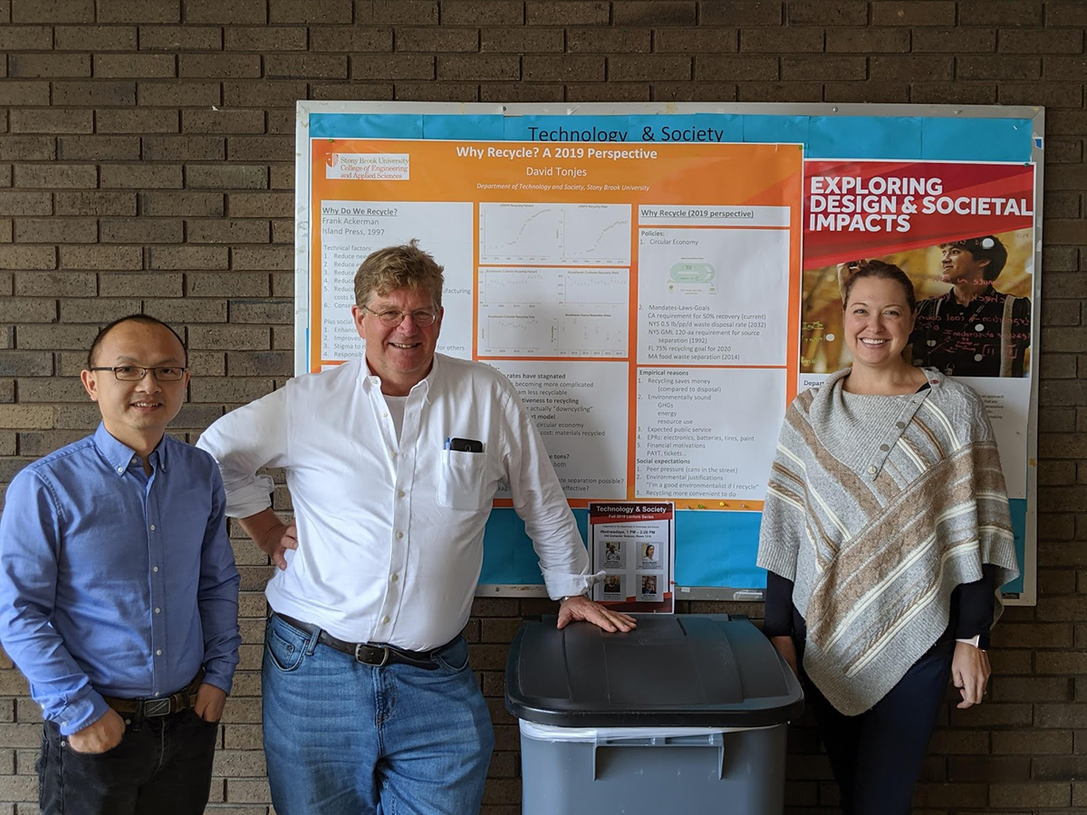 Technology and Society Professors Gang He (Co-PI), David Tonjes (PI) and Elizabeth Hewitt (PI)