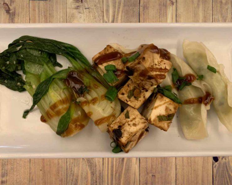 Dumplings tofu and bok choy