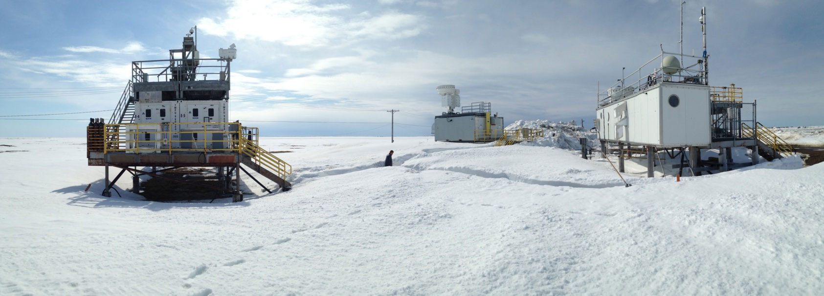 "Data collected at the Atmospheric Radiation Measurement (ARM) atmospheric observatory in Utqiagvik (Barrow), Alaska, indicate that shattering drizzle droplets play a major role in the formation of ""secondary"" ice in mixed-phase clouds. The results will improve how these cloud processes are represented in computational models used to forecast climate and local snowfall. (Credit: ARM user facility)"