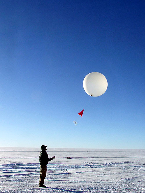 Weather balloons launched throughout the study period provided data on local temperature, humidity and other atmospheric conditions. By matching those data with Doppler radar measurements that are sensitive to the size, shape and movement of ice and water particles in clouds, scientists were able to identify the conditions responsible for explosive ice multiplication events. (Credit: ARM user facility)