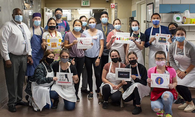 """Dietetic interns participated in a Food Network style """"Chopped"""" cooking competition in a partnership with University Hospital foodservice staff."""